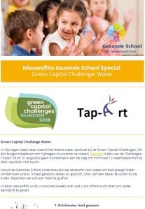 Nieuwsflits Gezonde School GGD-Green Capital Challenge Water-MariannA Bakker